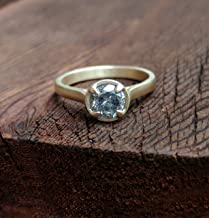 Salt & Pepper Diamond Solitaire Ring 14K Yellow Gold