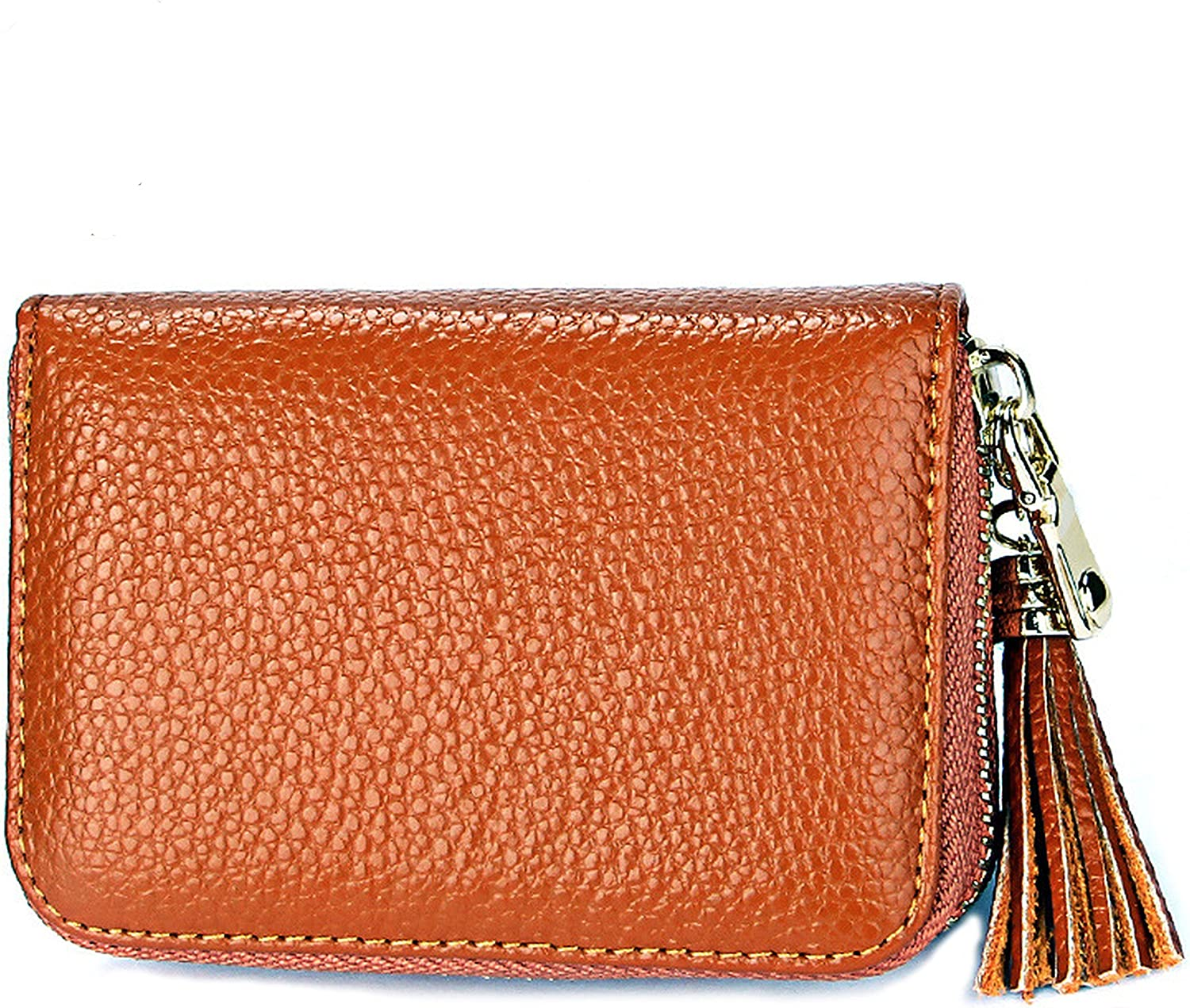 Women's RFID Block Leather Secure Credit Card Holder Accordion Zipper Wallet