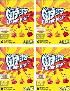 Fruit Gushers Flavor Mixers, Strawberry Peach, Orange Cherry, & Raspberry Lemonade 6 pouch box (pack of 4)