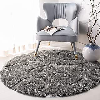 Safavieh Florida Shag Collection SG455-8013 Scrolling Vine Grey Graceful Swirl Round Area Rug (4' Diameter)
