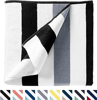 Cabana Beach Towel by Laguna Beach Textile Co, Oversized Black & Gray Summer Sunbathing and Pool Side Lounge Comfort, Plus...