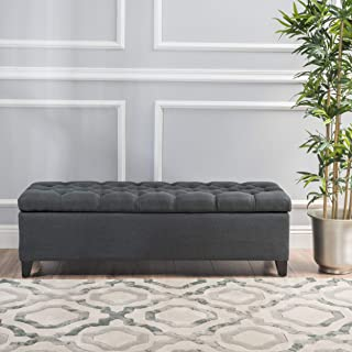 Christopher Knight Home Living Charleston Dark Grey Tufted Fabric Storage Ottoman, 17.75D x 51.50W x 15.75H