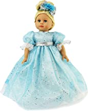 Light Blue Sparkle Ball Gown with Hairbow- Fits 18