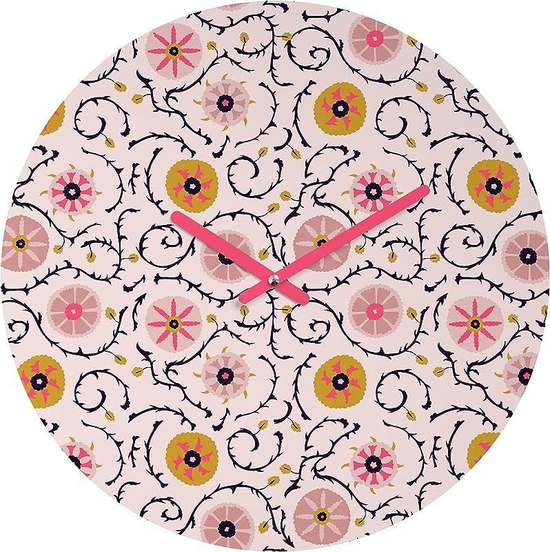 Deny Designs Holli Zollinger Suzani Pink Round Clock
