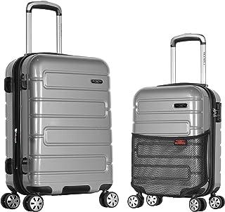 Olympia Nema 2-piece Pc Hardcase Carry-on Set W/Tsa Lock, Silver, One Size
