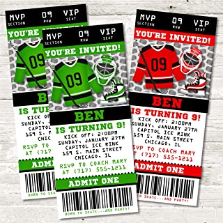 hockey ticket birthday invitations