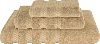 American Soft Linen Premium, Luxurious & Complete Set of 3 Piece Towel Set for Kitchen and Bathroom, Cotton for Maximum Softness and Absorbency, Sand Taupe