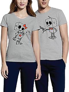 Camisetas para Parejas Mujer y Hombre Originales Divertidas con Diseño Robots Amore Couple T Shirt Gift