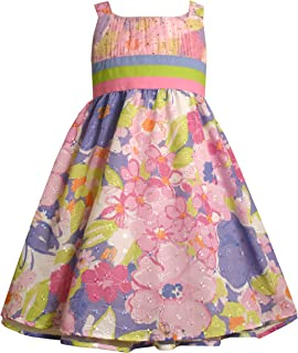 Bonnie Jean Little Girls' Floral Pattern Eyelet Print Dress,Peri,6