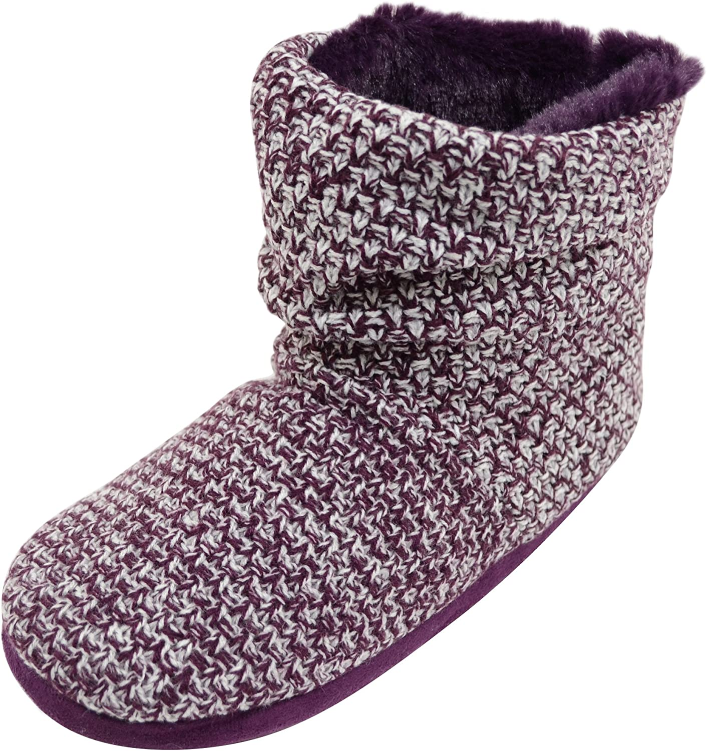 ABSOLUTE FOOTWEAR Ladies Womens Knitted Style Boots Bootie Slippers with Button Feature - Plum - 9 US
