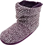 Ladies/Womens Knitted Style Boots/Bootie Slippers with Button Feature