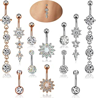 12PCS 14G Stainless Steel Dangle Belly Button Rings for Women Girls Navel Rings Barbell Body Piercing Jewelry