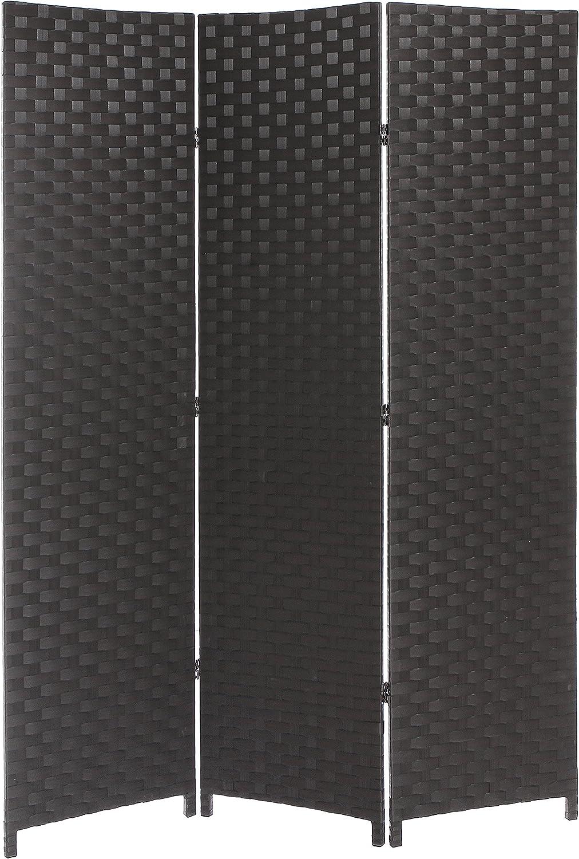 Dark Brown Wood Mesh Woven Design Freestanding 3 Panel Folding Privacy Screen Room Divider - MyGift