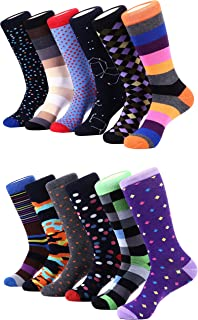 Marino Men's Dress Socks - Colorful Funky Socks for Men - Cotton Fashion Patterned Socks - 12 Pack