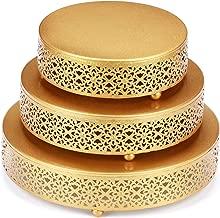 VILAVITA 3-Piece Cake Stand Set Round Metal Cake Stands Dessert Display Cupcake Stands, Gold