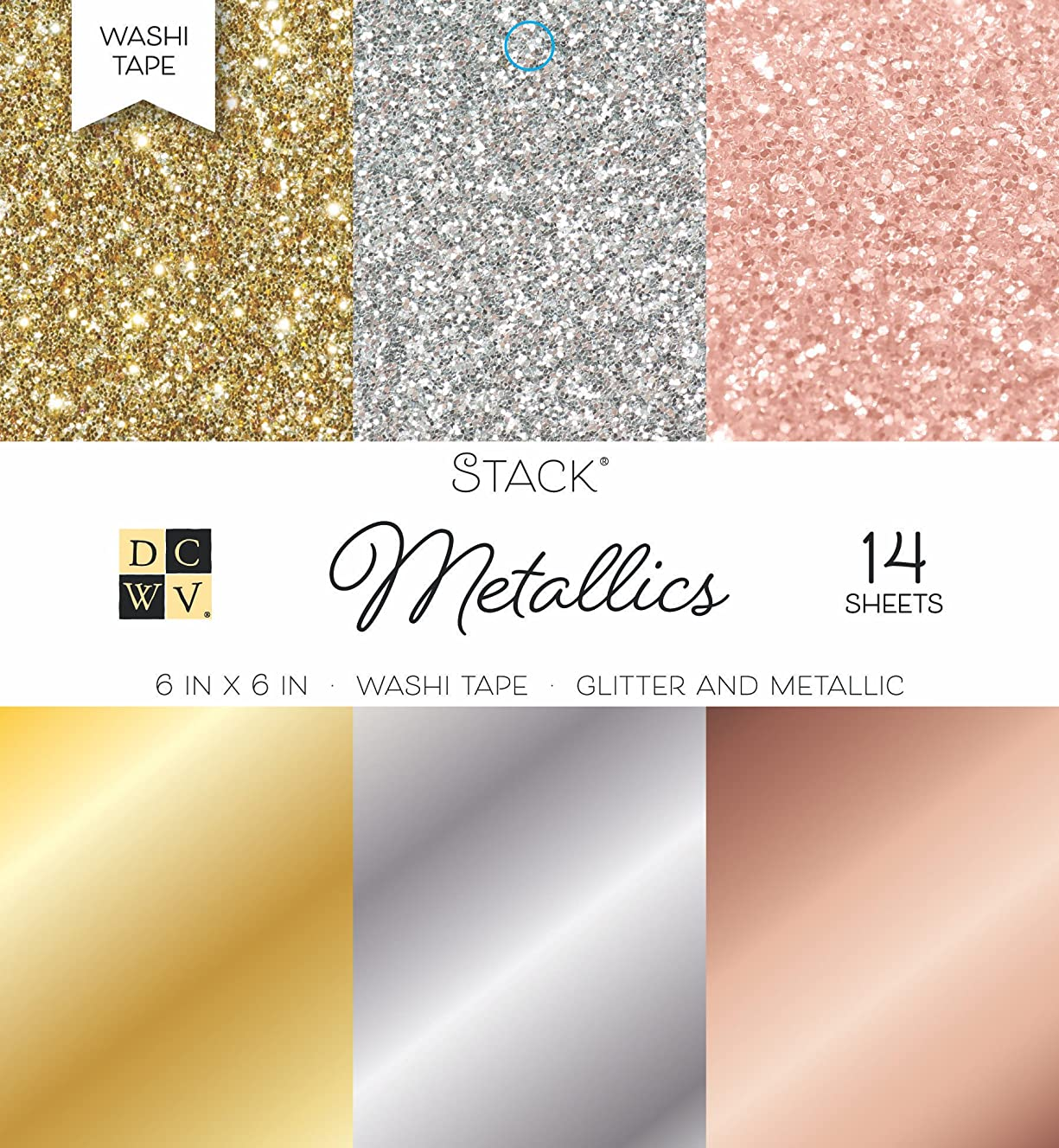 DCWV Card Stock 6X6 Washi Metallic Stack, 14 Sheets, 6