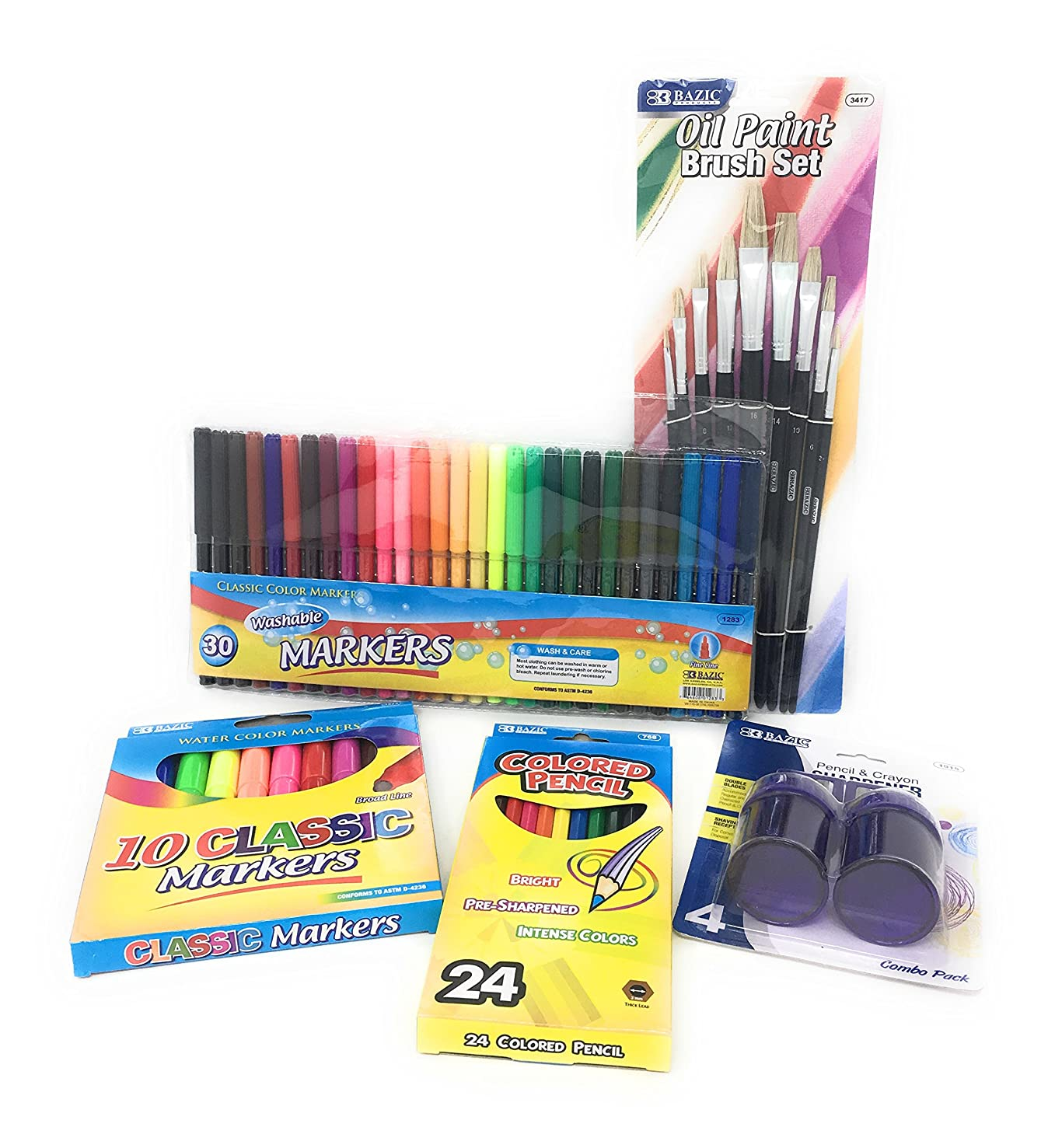 Art Supplies for Kids Bundle: 30 Thin Markers, 10 Classic Markers, Oil Paint Brush Set, 24 Colored Pencils, Pencil and Crayon Sharpener( 5 Items)