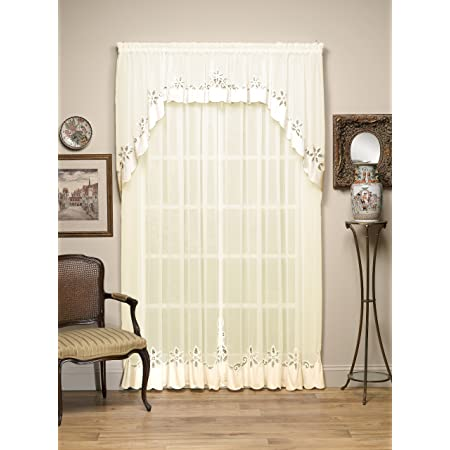 Amazon Com Today S Curtain Plymouth Classic Battenburg Applique Sheer Window Panel 84 Inch Ecru Home Kitchen