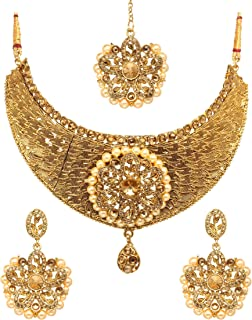 Bindhani Brides Wedding Party Wear Traditional Bridesmaid Ethnic Bridal Bollywood Jewelry Gold Plated Kundan Faux Pearl Dr...