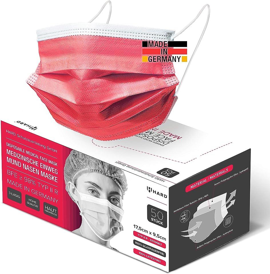 HARD 100 x Medizinischer Mundschutz TYP IIR OP-Maske Made in Germany, CE zertifiziert EN14683, 99,78% BFE 3-lagig Öko TEX, schützende Mund-Nasen-Bedeckung, Einweg-Gesichtsmasken Erwachsene - Rot