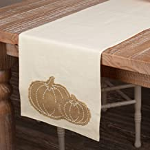 Piper Classics Burlap Pumpkin Patch Applique Table Runner, 13 x 36, Fall Harvest Country Farmhouse Home Décor
