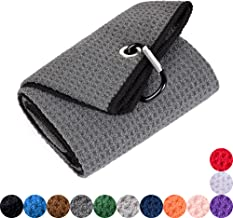 Mile High Life Tri-fold Golf Towel | Premium Microfiber Fabric | Waffle Pattern | Heavy Duty Carabiner Clip | 14 Color Options