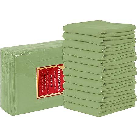 Utopia Kitchen Flour Sack Dish Towels, 12 Pack Cotton Kitchen Towels - 28 x 28 Inches (Sage Green)
