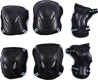 Selighting Protektoren Sets für Kinder Erwachsene Knieschoner Ellenbogenschützer Handgelenkschoner Set Schwarz für Radfahren Roller Skating Inline-Skate