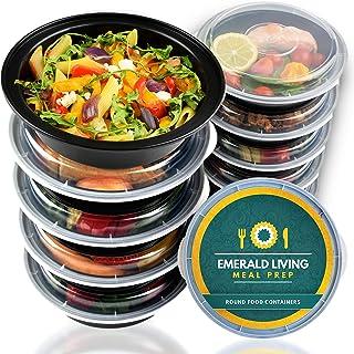 Pack de 10 Emerald Living recipientes alimentarios redondos, sin BPA