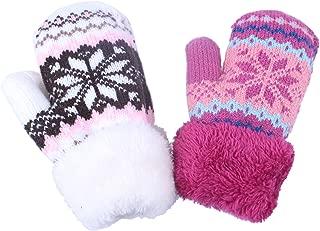 Toddler Baby Boy Girl Warm Winter Mittens Gloves With Fleece Lining Snowflake Design ¡