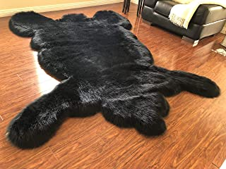 Super Soft Faux Bear Skin Silky Shag Rug (4'X6', Black)