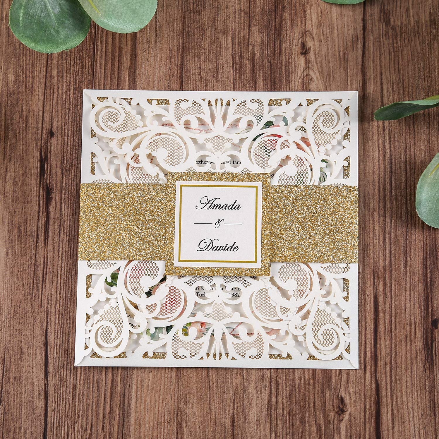 Quince Luxurious Eyelash Detail Invitation Wrap for Wedding DIY Invitations Gold Glitter. Laser Cut Belly Band Glitter Sweet Sixteen