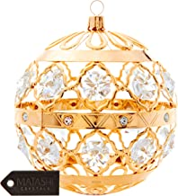 Matashi 24K Gold Plated Christmas Ball Hanging Ornament with Crystals - Great for Home Christmas Tree Decor, Gift for Mom Friends Valentine's Day Anniversary