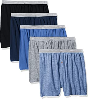 Hanes Men's 5-Pack FreshIQ Exposed Waistband Knit Boxers