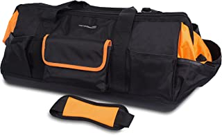 Internet's Best Soft Sided Tool Bag   25 Inch   22 Pockets   Wide Mouth Hard Base Tool Storage and Organizer Box
