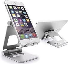 MyGadget Foldable Desktop Holder for Smartphone - Desk Aluminium Stand for e.g. Apple iPhone X, 8, 7, 6 / Samsung Galaxy S9, S8 Plus, S7, S6 Edge - Silver