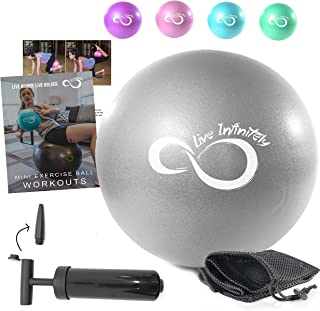 Live Infinitely 9 Inch Barre Pilates Ball & Hand Pump– Anti Burst Mini Ball & Digital Workout eBook Included for Yoga, Exe...