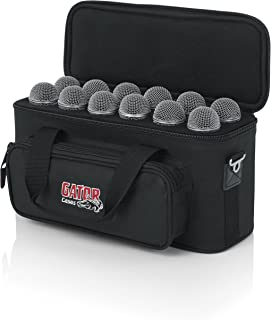 Gator Cases Padded Microphone Carry Bag with Foam Drops for Up to (12) Wired Microphones (GM-12B)