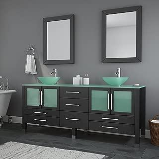 71 Inch Espresso Modern Bathroom Double Vanity Set-