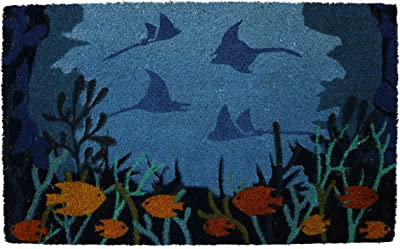 PRIDE OF PLACE Astley Rectangle Doormat   Under The Sea Design   Non-Slip PVC Backing   Heavy Duty Coir   Ideal for Indoor or Sheltered Outdoor Use   Waterproof   45 x 75cm