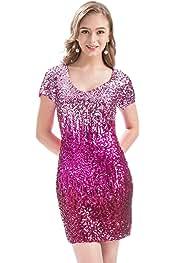 MANER Women s Sequin Glitter Short Sleeve Dress Sexy V Neck Mini Party Club  Bodycon Gowns 9e9a1bcea5e8