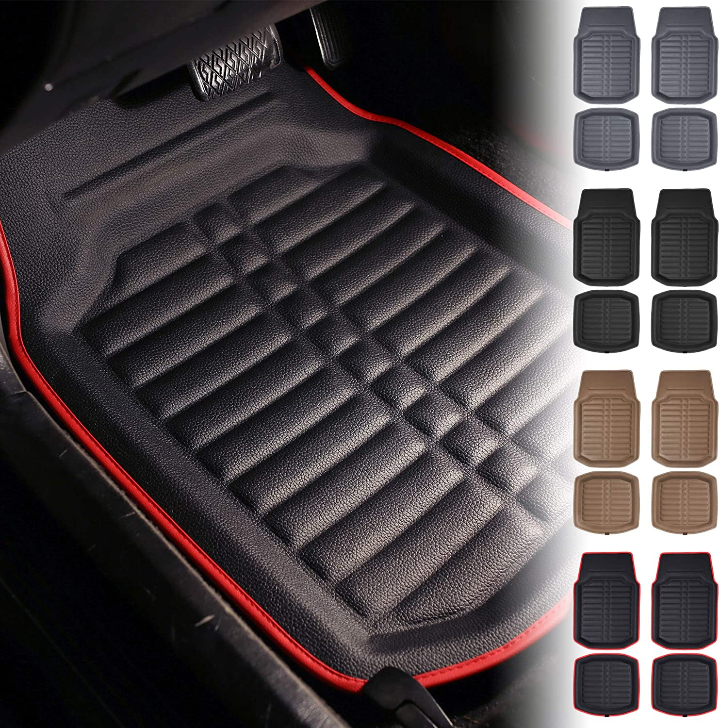 FH Group Tray Style New sales Car Sale All Weathe Mats F14409REDBLACK Deep