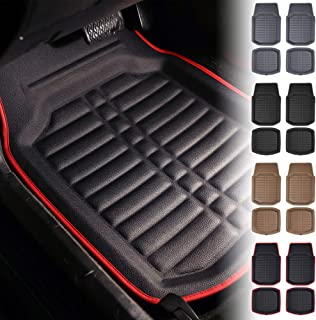 FH Group Tray Style Car Mats F14409REDBLACK Deep Tray All Weather Floor Mats, 4 Piece