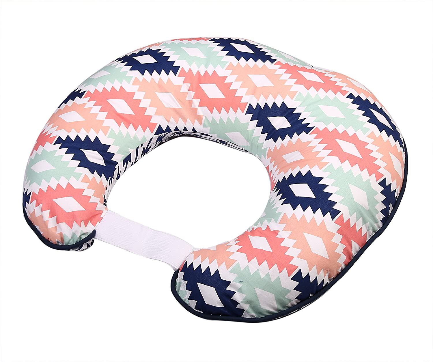 Bacati - Aztec Nursing Pillow Ultra-Soft 100% Cotton Fabric in a Fashionable Two-Sided Design, Fits All Hugster Nursing Pillows and Positioners (Pillow Cover Only, Coral/Mint//Navy)