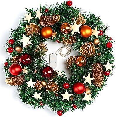 Naler Guirnalda de Corona de Navidad Puerta Decoración Navideña con Bolas Piñas Conos con Luz Blanca Cálida LED: Amazon.es: Hogar