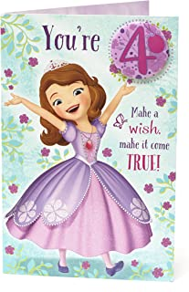 Girl 4th Sofia the First Age 4 with Badge Happy Birthday Greeting Card