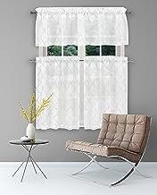 مجموعة ستارة نافذة المطبخ الهندسية Home Maison Devyn، 2 28 × 36 بوصة 2   1 56 × 15 بوصة، أبيض