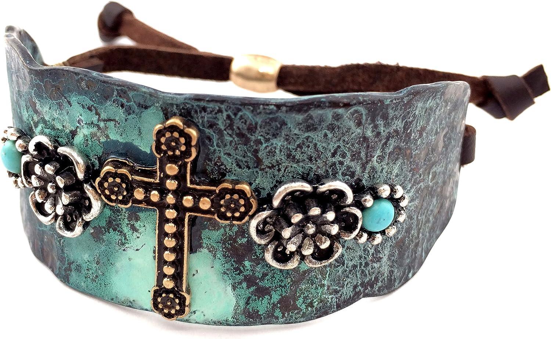 Western Peak Western Copper Rhinestone Hammered Plate Cross Rose Turquoise Brown Leather Cuff Bracelet