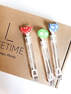 Masks Bubbles Party Favors Supplies, Red Green Blue Charms Celebrations Birthday Supplies Girls Boys Gift Kids Clear Mini Bottle Wands Non Toxic Hero PJ Theme