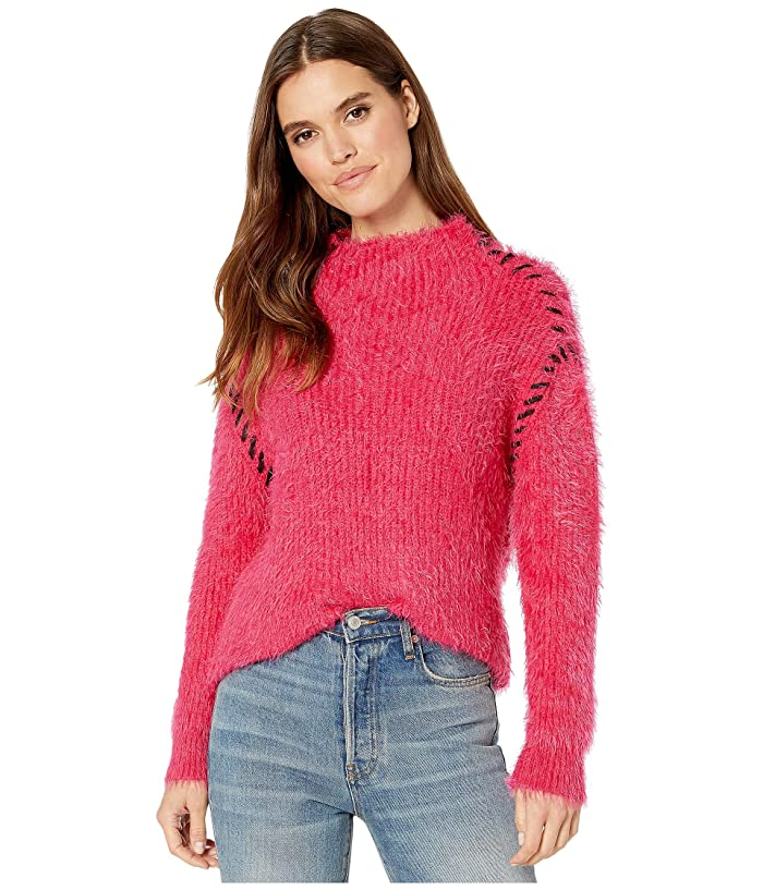 1.STATE  Whipstitch Eyelash Turtleneck (Rapture Pink) Womens Sweater